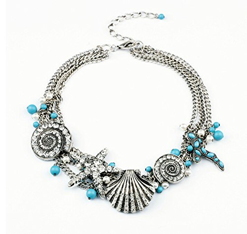 New shell Crystal Women Lady Chunky Statement Long Necklace Party Wedding Gift Choker Collar