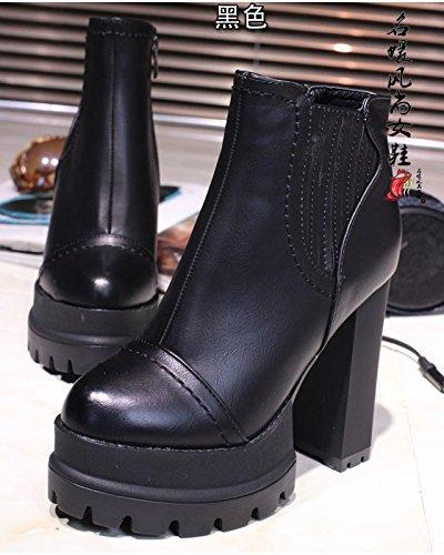 LGK&FA LadyS Resorte elástico Botines Botas de tacón Alto de Zapato de Gamuza Negra Botas de