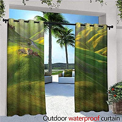 979e91aa7ed cobeDecor Tuscan Indoor Outdoor Single Panel Print Window Curtain Tuscany  Hills Sunset Scenery Green Meadow Agriculture Country Farm House Theme  Silver ...