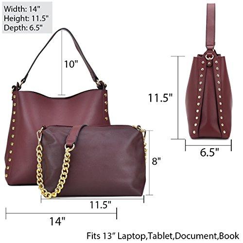2 1 7480 Crossbody in Women 2 black Shoulder Purse Satchel Bag Pieces Handbag Leather Hobo Set qAnORwH5