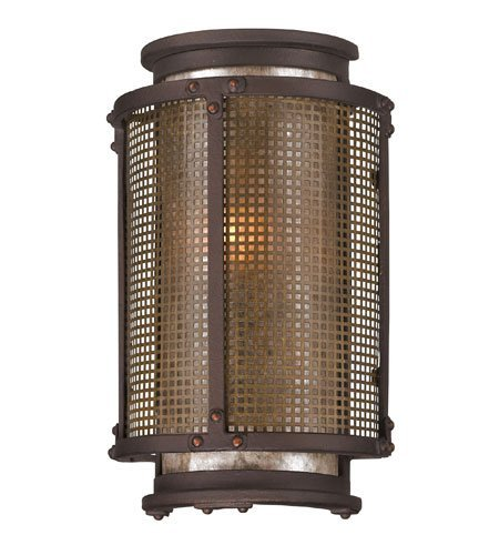 Troy Lighting Copper Mountain 10.5''H 1-Light Outdoor Wall Light - Copper Mountain Bronze Finish with Silver Mica Glass