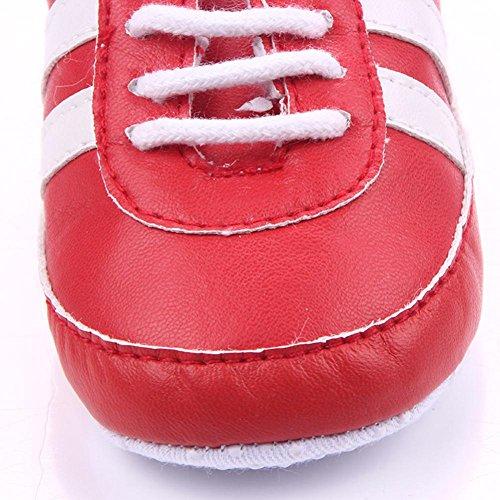 Clode® Infant Neugeborenen Baby Mädchen Jungen Krippe Patchwork Weiche Sohle Prewalker Schuhe Rot