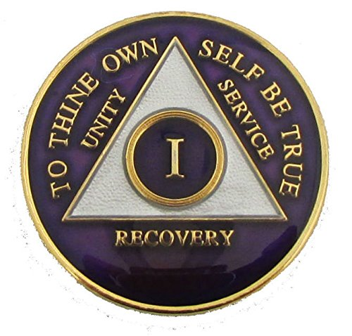 1 Year Purple Tri-Plate Alcoholics Anonymous Medallion- AA Sobriety Chip(1 Year Shown)