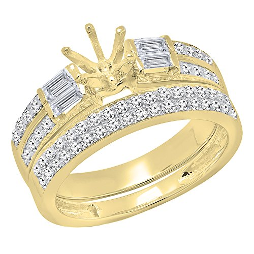 1.65 Carat (ctw) 14K Yellow Gold Round & Baguette Diamond Semi Mount Engagement Ring Set (Size 7)