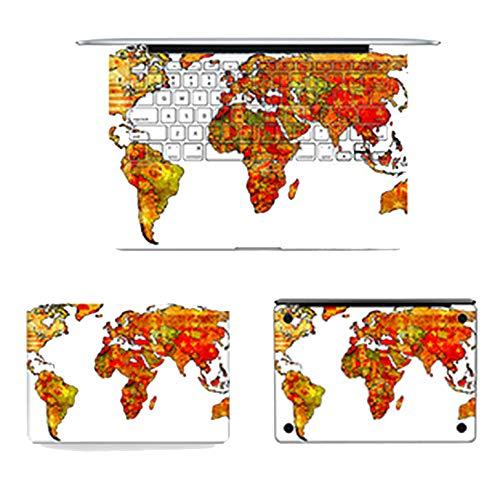 4pcs/Set Laptop Full Sticker Top Bottom Keyboard Vinyl Decal World Map Skin for Macbook Air Retina Pro & Film,Pro 13 -A1278,F16383