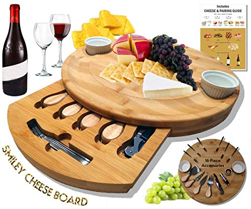 Extra Large Smiley Cheese Board Set | Unique Housewarming Gifts, Men, Women Birthday, Mothers Day | Magnetic Drawer holding Cheese Knives, Serving Forks, Wine Accessories