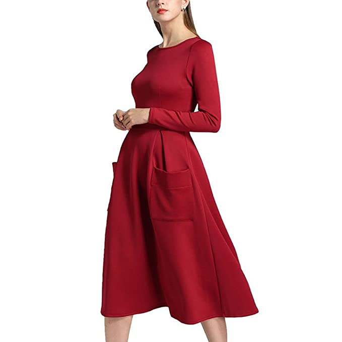 vestidos invierno otoño mujer baratos vestidos de fiesta para bodas largos tallas grandes con bolsillos clásicos