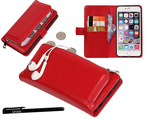 Urvoix iPhone 6 / iPhone 6S Case, Organizer PU Leather Clutch Purse with Detachable Case, Card Slots and ZIP Pouch Cover for iPhone6/6S (4.7'') by Urvoix