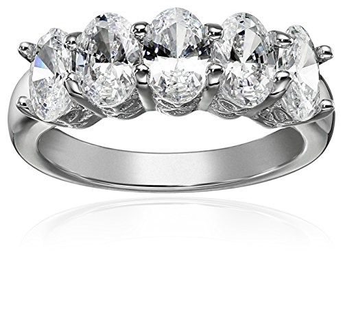Platinum or Gold Plated Sterling Silver Oval-Shape 5-Stone Ring made with Swarovski Zirconia, Size 5