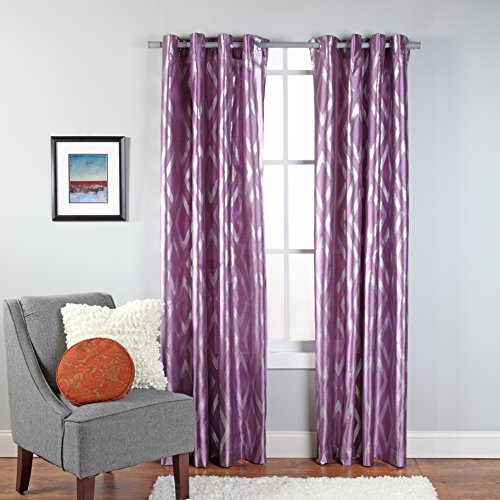 Stylemaster Home Products Stanton Metallic Print Grommet Panel, 55 by 84-Inch, Lilac