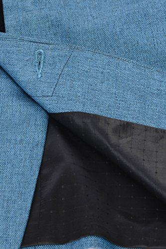 Wintage - Blazer - Uni - Col Tunisien - Manches Longues - Homme -  Bleu - taille 10