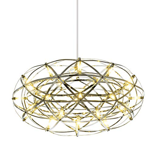 Mzithern Modern Oval Ceiling Light Fixture, Polished Chrome 20″ Contemporary Geometric Chandelier Lighting Stainless Steel Sparkle Chandelier for Living Room, Dining Room, Foyer, Bar, Restaurant For Sale