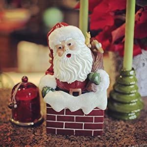 "Hallmark Home Holiday Music Box, Vintage Inspired ""Up On The Rooftop"" Santa with Bag in Chimney"