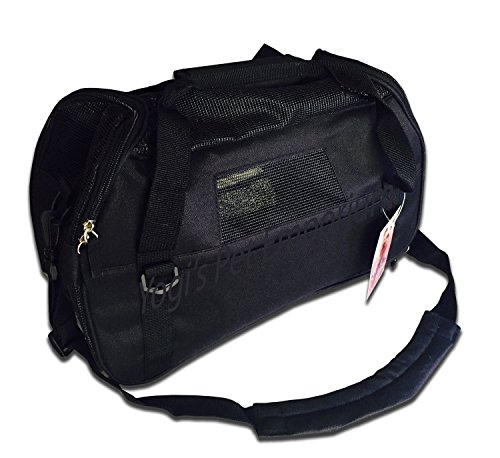 Pet Carrier for Dogs & Cats Comfort Airline Approved Travel Tote Soft Sided Bag 16″ Length x 8″ Width x 11.5″ Height (Black)
