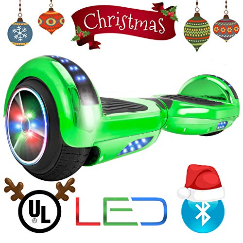 XtremepowerUS Self Balancing Scooter Hoverboard UL2272 Certified, Wireless Speaker and LED Light (Green)