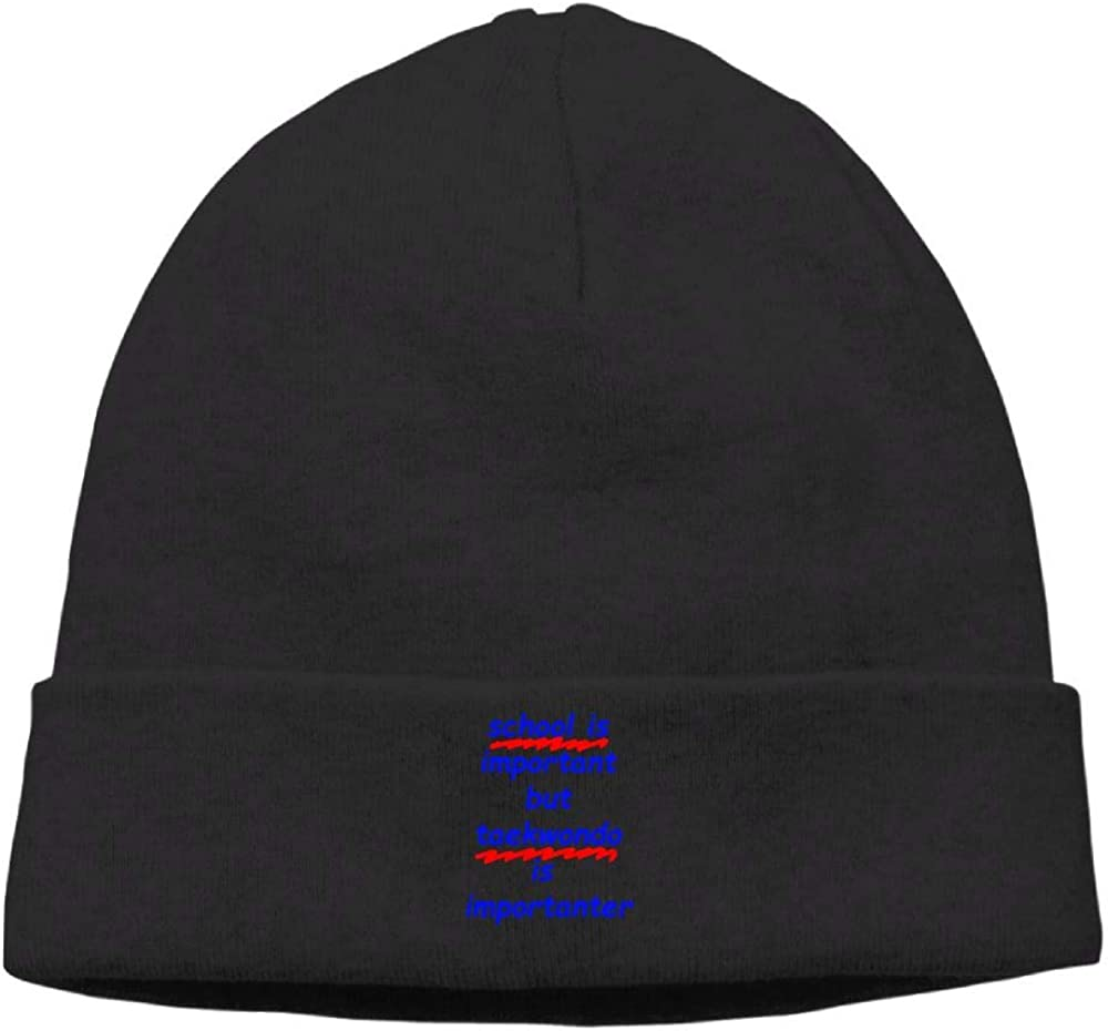 Riokk az Skull Hat Beanie Knit Caps Men School is Important But Taekwondo is Importanter Black