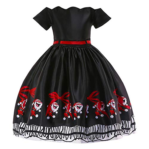 Clearance Forthery Girls Dress Christmas Santa Vintage Reindeer Snowflake Tulle Lace Dress Gift(Black, 4-5 Years)