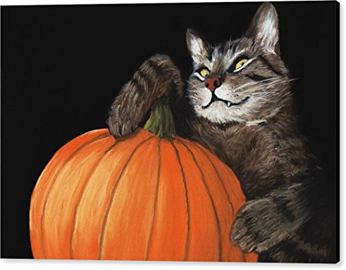 ''Halloween Cat'' by Anastasiya Malakhova, Canvas Print Wall Art, 36'' x 24'', Black Gallery Wrap, Glossy Finish by Pixels