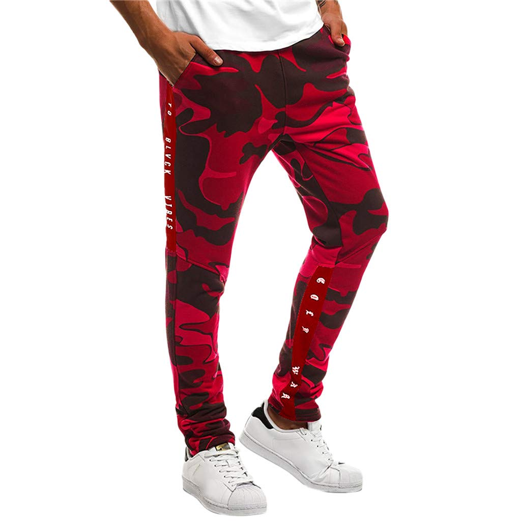 Shybuy Men's Stitching Camouflage Training Sports Trousers (M, Red)