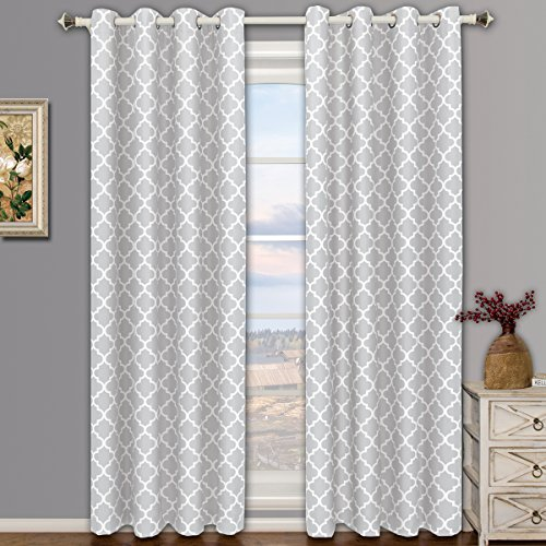 Meridian Silver Top Grommet Room Darkening Window Curtain Panels, Pair / Set of 2 Panels, 52x96 inches Each, by Royal - Panels Top Set Window