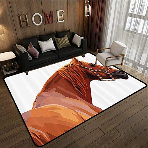 Contemporary Indoor Area Rugs,Animal,Race Jokey Horse Pure Noble Animal Ride Hobby Nature Vehicle Artwork Paint,White and Cinnamon 78.7