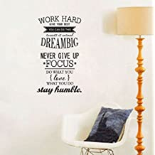 Ducklingup Wall Decal Quote Work Hard, Dream Big, Never Give up, Stay Humble Decal Teamwork Vinyl Stickers Home Bedroom Motivation Quote Wall Sticker