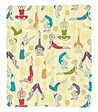 Chaoran 1 Fleece Blanket on Amazon Super Silky Soft All Season Super Plush Yoga Decor Collection Fitness Girls Pattern Colorful Line Art Young Jumping Jump Game Cartoon Joy Trend Pattern Fabric et Ivo
