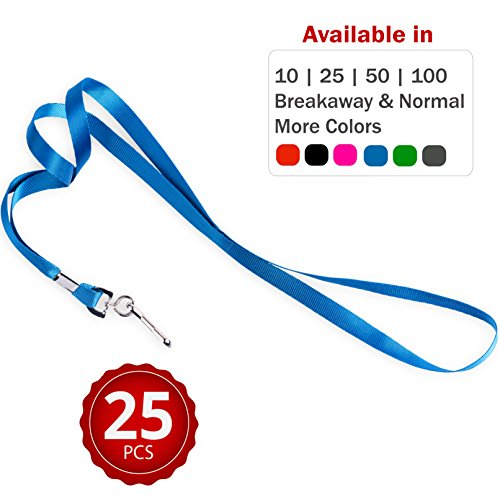Durably Woven Lanyards ~Premium Quality, Smoothly Finished for Skin-Friendly Comfort~ for Moms, Teachers, Tours, Events, Businesses, Cruises & More (25 Pack, Blue) by Stationery King