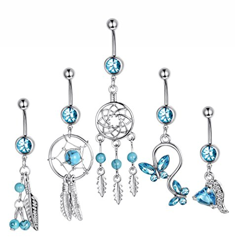 Besteel 5PCS 14G Belly Button Rings for Girls Women Dangle Navel Rings Surgical Steel Body Jewelry (16g Belly Ring)