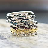 Sterling Silver Simulated Gemstone Twisted Prong Inifinity Band Ring Sizes 4-10 COLORS AVAILABLE