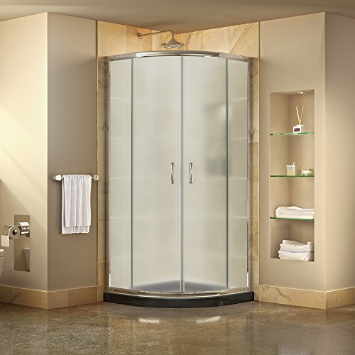 DreamLine DL-6703-89-01FR Prime D x 38 in. W x 74 3 4 in. H Frosted Framed Sliding Shower Enclosure in Chrome, Corner Drain Black Base Kit, 38 38