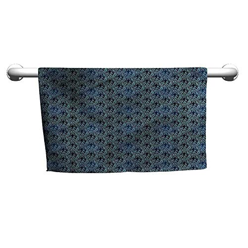 (flybeek Towel Victorian,Blue Ornate Flourish,Towel bar for Glass Shower Door)