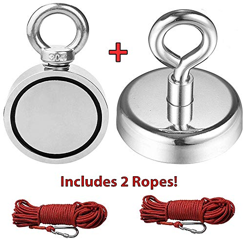 Neodymium Magnet Kit - Sarabi.K Magnet Fishing Kit: 1) 529LB Combined Double Sided Magnet, 1) 264LB Single Sided Magnet and 2) Magnet Fishing Rope (65FT) - Perfect Magnet for Fishing, Retrieving and Gifts