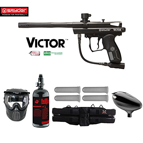 MAddog Kingman Spyder Victor Starter HPA Paintball Gun Package - Black