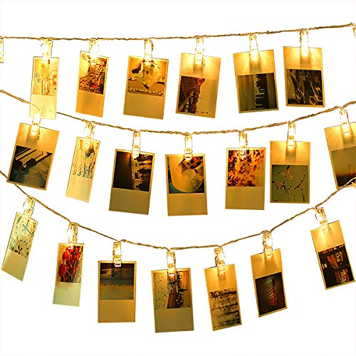 Led Photo Clip String Lights Indoor String Lights Seasonal Lighting Outdoor String Lights for Hanging Photos, Cards, Memos Home/Halloween/Birthday/Party Decorations Battery Powered White]()