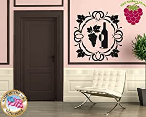 Wall Stickers Vinyl Decal Glass Of Wine Grape Leaves For Kitchen Home Decor ig656