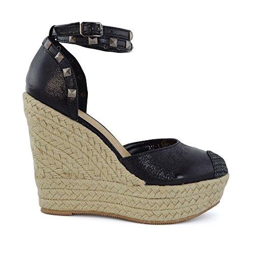 Wedge Studded femme Semelle Sandals ESSEX GLAM Noir compensée Eqwz5W8x