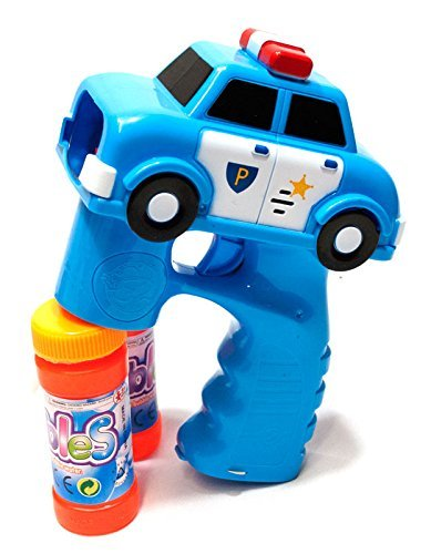 LilPals BEST FIRE TRUCK & POLICE CAR BUBBLE GUN SHOOTERS - BLASTERS WITH LIGHT AND SOUNDS, WITH 2 BUBBLE SOLUTIONS, FOR KIDS 3 YEARS AND UP (blue)