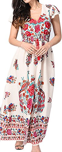 Vestidos Mujer Verano Largos Vintage Bohemio Estilo Etnica Flores Impresa Casual Elegantes Manga Corta V Cuello Alto Cintura A-Line Vestidos Playa Vestidos Verano Vestido Largo Rosa