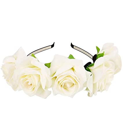 Ever fata rosa fiore fascia donne rose Flower Crown wedding party festival  fascia accessori per capelli 2ed5bde4916a