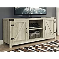 New 58 Inch Wide Barn Door Television Stand In White Oak Finish