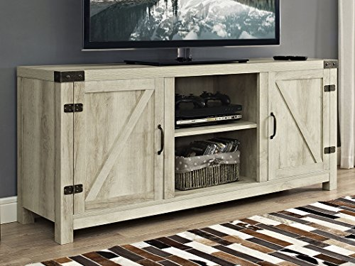Amazon Com New 58 Inch Wide Barn Door Television Stand In White Oak