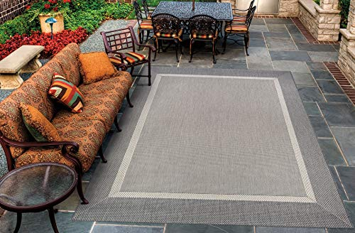 Couristan 5526/3312 Recife Stria Texture Indoor/Outdoor Area Rug, 5'10