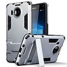 Lumia 950 XL Case - Terrapin Microsoft Lumia 950 XL Cover - Full Body Shock Resistant Armor Case - High-Tech Look - Dual Layer - Kickstand - Silver