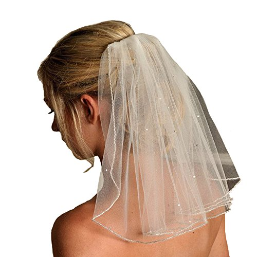 Bridal Veils Veil (Fair Lady White Simple One Layer Pencil Edge With Sequined Short Wedding Veil)