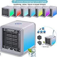 Max-Cool Portable Air Conditioner, 3 in 1 Mini USB Personal Space Air Cooler, Humidifier and Purifier, Desktop Cooling Fan with 3 Speeds and 7 Colors LED Night Light for Office Home Outdoor Travel