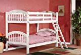 InRoom Designs B125W Wood Arched Design Twin Size Convertible Bunk Bed, White