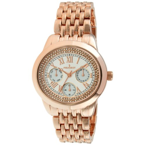 Peugeot Women's Elegant 14K Rose Gold Plated Crystal Accent Multifunction Dress Watch 7089RG ()