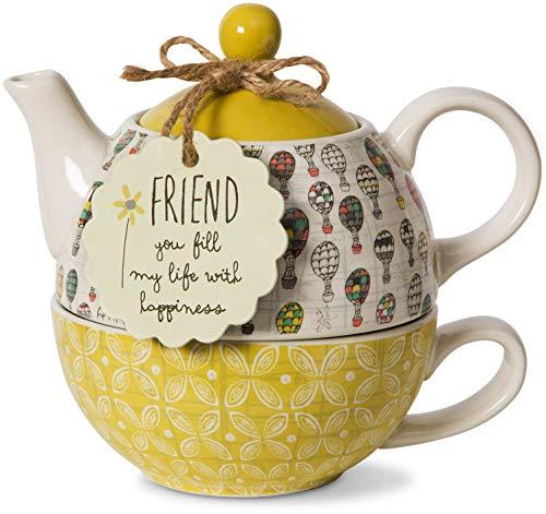 Pavilion- Friend 15 oz. Teapot and 8 oz. Cup - One Ceramic
