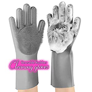 anzoee Reusable Silicone Dishwashing Gloves, Pair of Rubber Scrubbing Gloves for Dishes, Wash Cleaning Gloves with Sponge Scrubbers for Washing Kitchen, Bathroom, Car & More (Gray)